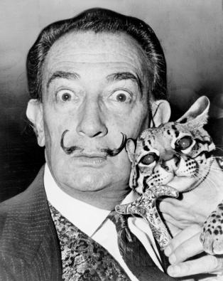 G47B5T Salvador Dali, portrait by Roger Higgins, 1965